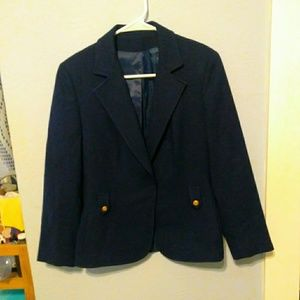 Vintage navy blue blazer with gold tone buttons